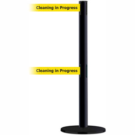 "Tensabarrier Advance Dual Line 7.5' L Retractable Belt Barrier - Blk/Ylw ""Cleaning in Progress"""