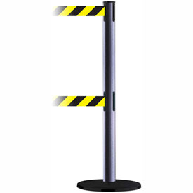 Tensabarrier Ham. Gray Adv Dual Line 7.5'L Black/Yellow Chevron Retractable Belt Barrier