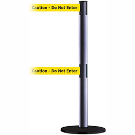 Tensabarrier Ham. Gray Adv Dual Line 7.5'L BLK/YLW Caution-Do Not Enter Retractable Belt Barrier