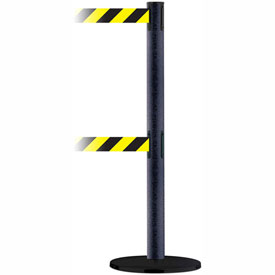 Tensabarrier BLK Wrinkle Adv Dual Line 7.5'L Black/Yellow Chevron Retractable Belt Barrier