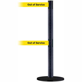 Tensabarrier BLK Wrinkle Adv Dual Line 7.5'L BLK/YLW Out of Service Retractable Belt Barrier