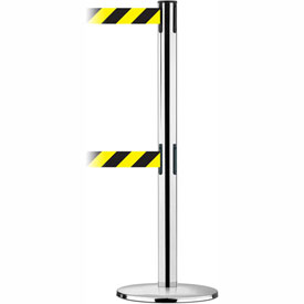 Tensabarrier Pol Chr Adv Univ Dual Line 7.5'L Black/Yellow Chevron Retractable Belt Barrier