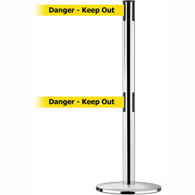 Tensabarrier Pol Chr Adv Univ Dual Line 7.5'L BLK/YLW Danger-Keep Out Retractable Belt Barrier