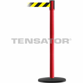 Tensabarrier Red Slimline 7.5'L Black/Yellow Chevron Retractable Belt Barrier