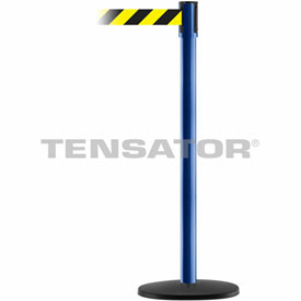 Tensabarrier Blue Slimline 7.5'L Black/Yellow Chevron Retractable Belt Barrier