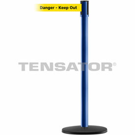 Tensabarrier Blue Slimline 7.5'L BLK/YLW Danger-Keep Out Retractable Belt Barrier