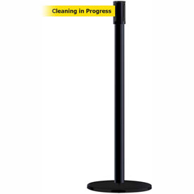 Tensabarrier Black Slimline 7.5'L BLK/YLW Cleaning in Progress Retractable Belt Barrier