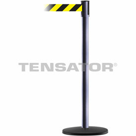 Tensabarrier Hammer Gray Slimline 7.5'L Black/Yellow Chevron Retractable Belt Barrier