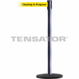 Tensabarrier Hammer Gray Slimline 7.5'L BLK/YLW Cleaning in Progress Retractable Belt Barrier