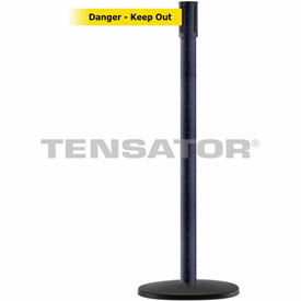 Tensabarrier Black Wrinkle Slimline 7.5'L BLK/YLW Danger-Keep Out Retractable Belt Barrier