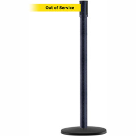 Tensabarrier Black Wrinkle Slimline 7.5'L BLK/YLW Out of Service Retractable Belt Barrier