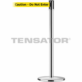 Tensabarrier Pol Chrome Slimline 7.5'L BLK/YLW Caution-Do Not Enter Retractable Belt Barrier