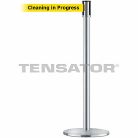 Tensabarrier Satin Chrome Slimline 7.5'L BLK/YLW Cleaning in Progress Retractable Belt Barrier