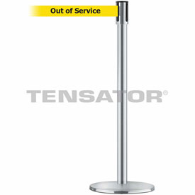Tensabarrier Satin Chrome Slimline 7.5'L BLK/YLW Out of Service Retractable Belt Barrier