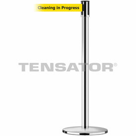Tensabarrier Pol Stainless Slimline 7.5'L BLK/YLW Cleaning in Progress Retractable Belt Barrier