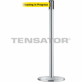 Tensabarrier Satin Stainless Slimline 7.5'L Cleaning in Progress Retractable Belt Barrier