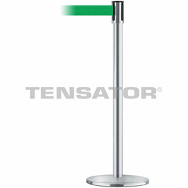 Tensabarrier Satin Stainless Slimline 7.5'L Green Retractable Belt Barrier