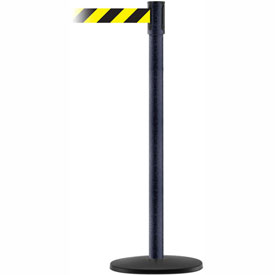 Tensabarrier BLK Wrinkle Slimline 7.5'L Black/Yellow Chevron Retractable Belt Barrier