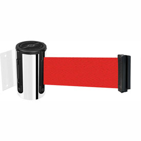 Tensabarrier Pol Chrome Mini Wall Mount 13'L Red Retractable Belt Barrier