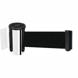 Tensabarrier Pol Chrome Mini Wall Mount 13'L Black Retractable Belt Barrier