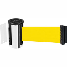 Tensabarrier Pol Chrome Mini Wall Mount 13'L Yellow Retractable Belt Barrier