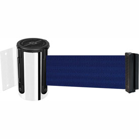 Tensabarrier Pol Chrome Mini Wall Mount 13'L Blue Retractable Belt Barrier