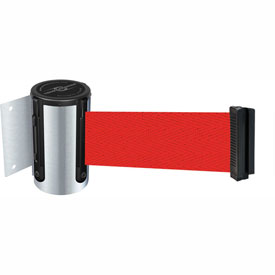 Tensabarrier Satin Chrome Mini Wall Mount 13'L Red Retractable Belt Barrier