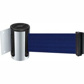 Tensabarrier Satin Chrome Mini Wall Mount 13'L Blue Retractable Belt Barrier