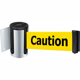 Tensabarrier Satin Chrome Mini Wall Mount 13'L BLK/YLW Caution-Do Not Enter Retractable Belt Barrier