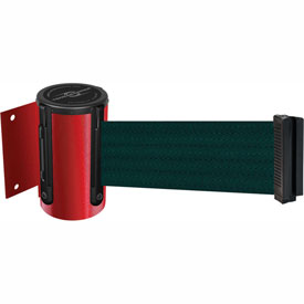 Tensabarrier Red Mini Wall Mount 13'L Green Retractable Belt Barrier