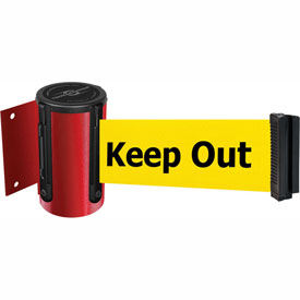 Tensabarrier Red Mini Wall Mount 13'L BLK/YLW Danger-Keep Out Retractable Belt Barrier