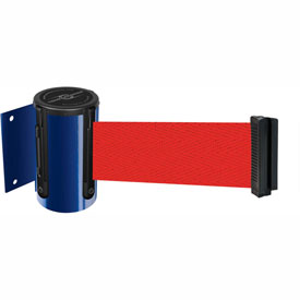 Tensabarrier Blue Mini Wall Mount 13'L Red Retractable Belt Barrier