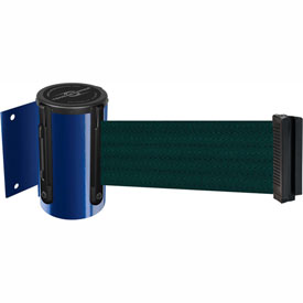 Tensabarrier Blue Mini Wall Mount 13'L Green Retractable Belt Barrier
