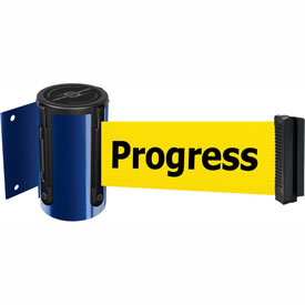 Tensabarrier Blue Mini Wall Mount 13'L BLK/YLW Cleaning in Progress Retractable Belt Barrier