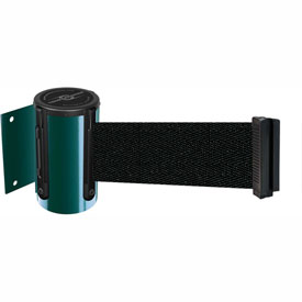 Tensabarrier Green Mini Wall Mount 13'L Black Retractable Belt Barrier