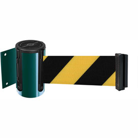 Tensabarrier Green Mini Wall Mount 13'L Black/Yellow Chevron Retractable Belt Barrier