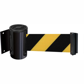 Tensabarrier Black Mini Wall Mount 13'L Black/Yellow Chevron Retractable Belt Barrier