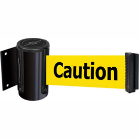 Tensabarrier Black Mini Wall Mount 13'L BLK/YLW Caution-Do Not Enter Retractable Belt Barrier