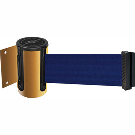 Tensabarrier Yellow Mini Wall Mount 13'L Blue Retractable Belt Barrier