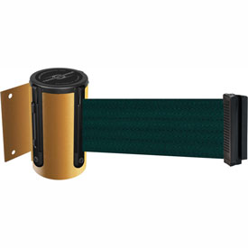 Tensabarrier Yellow Mini Wall Mount 13'L Green Retractable Belt Barrier