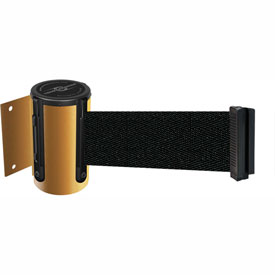 Tensabarrier Yellow Mini Wall Mount 13'L Black Retractable Belt Barrier