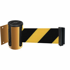 Tensabarrier Yellow Mini Wall Mount 13'L Black/Yellow Chevron Retractable Belt Barrier