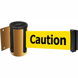 Tensabarrier Yellow Mini Wall Mount 13'L BLK/YLW Caution-Do Not Enter Retractable Belt Barrier