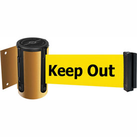 Tensabarrier Yellow Mini Wall Mount 13'L BLK/YLW Danger-Keep Out Retractable Belt Barrier
