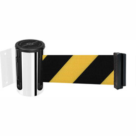 Tensabarrier Pol Chrome Mini Wall Mount 7.5'L Black/Yellow Chevron Retractable Belt Barrier