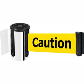 Tensabarrier Pol Chrome Mini Wall Mount 7.5'L BLK/YLW Caution-Do Not Enter Retractable Belt Barrier