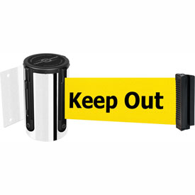 Tensabarrier Pol Chrome Mini Wall Mount 7.5'L BLK/YLW Danger-Keep Out Retractable Belt Barrier