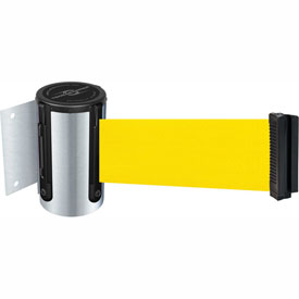 Tensabarrier Satin Chrome Mini Wall Mount 7.5'L Yellow Retractable Belt Barrier