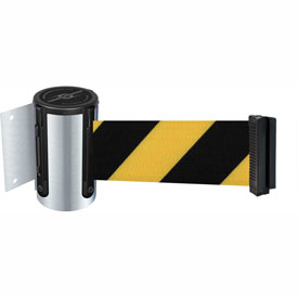Tensabarrier Satin Chrome Mini Wall Mount 7.5'L Black/Yellow Chevron Retractable Belt Barrier