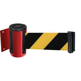 Tensabarrier Red Mini Wall Mount 7.5'L Black/Yellow Chevron Retractable Belt Barrier